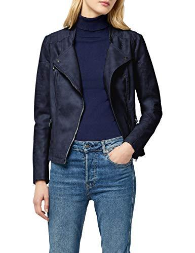 ONLY Damen Jacke onlAVA Faux Leather Biker OTW NOOS, Blau (Dark Navy), 40