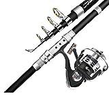 Lsrryd Caña de Pescar, combinación telescópica del Carrete de la Roca del mar del Recorrido portátil de la Fibra de Carbono + Regalo de la Pesca los 2.1m, los 2.4m, los 2.7m, los 3.0m, los 3.6m
