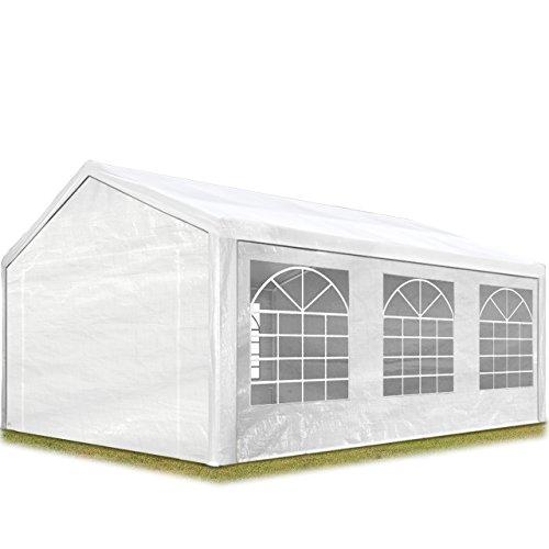 Toolport tendone per feste gazebo 4x6 m bianco pe 180g/m² impermeabile protezione uv tenda giardino sagre eventi mercati esterno