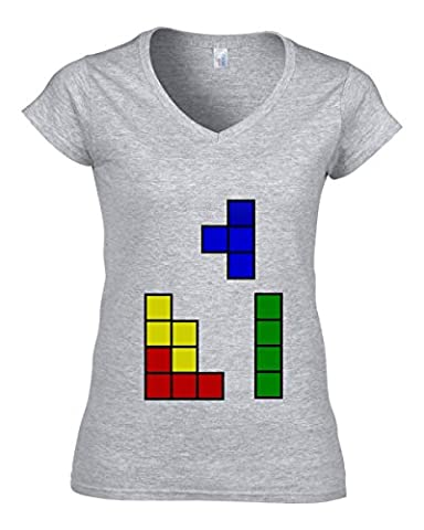 Old school tetris logo dope Women's V-Neck T-Shirt XX-Large