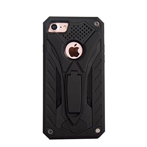 Neue hybride Rüstung schützende rückseitige Abdeckung Shockproof Doppelschicht PC + TPU rückseitige Abdeckung mit Kickstand für iPhone 7 ( Color : Rosegold ) Black