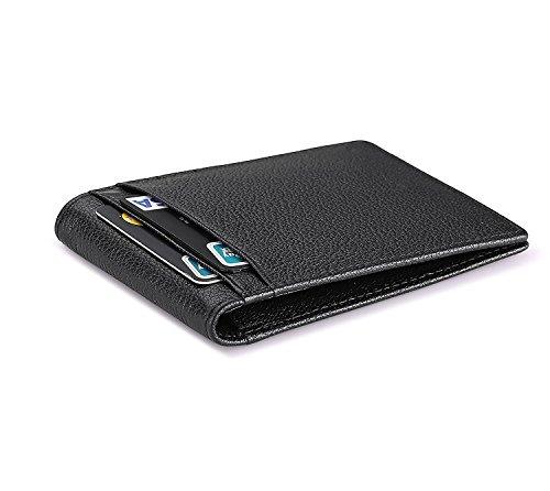 flintronic RFID-Blocker Schutz Geldbörse, Ausweis- und Kreditkartenetui Leder Brieftasche Echtem Leder, Herren Geldbörse Visitenkartenetui Leder (#1 Schwarz) (Id-fenster-schwarz-herren-geldbörsen)