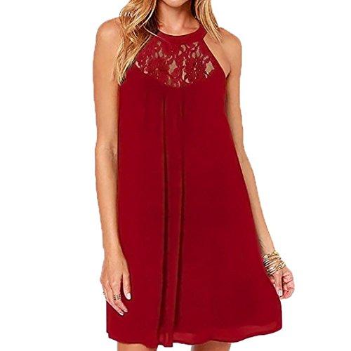 ESAILQ Damen Ärmelloses Beiläufiges Strandkleid Sommerkleid Tank Kleid Ausgestelltes Trägerkleid Knielang(XL,Wein)