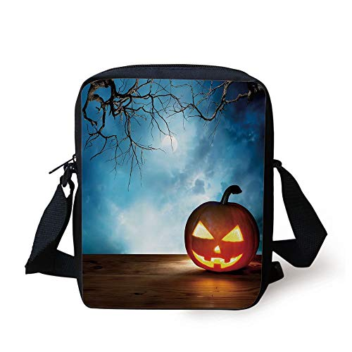 Halloween,Traditional Celebration Icon Pumpkin on Wooden Board Fantasy Midnight Sky Trees,Multicolor Print Kids Crossbody Messenger Bag Purse