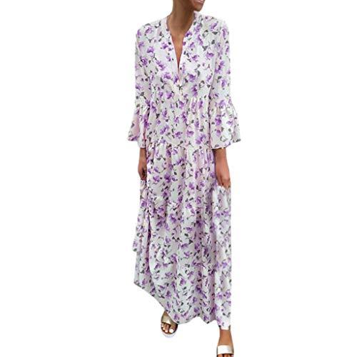LUGOW Maxikleid Strandkleid Damen Sommerkleider Günstig Bohemian Lange Ärmel FreizeitKleider PartyBallkleid Abendkleider BlusenkleidCocktailkleider LangKleider(XX-Large,Lila) -