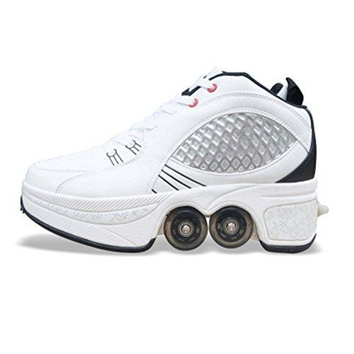 QINAIDI Pulley Ice Skates Multifunktionale Verformung Schuhe Quad Skate Roller Skating Outdoor-Sport Für Erwachsene,B,39 (Quad Roller Skate Räder)