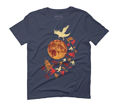 CROWS IN TWILIGHT Men's 3X-Large Navy Graphic T-Shirt - Design By Humans (Sublime T-shirt Juniors)