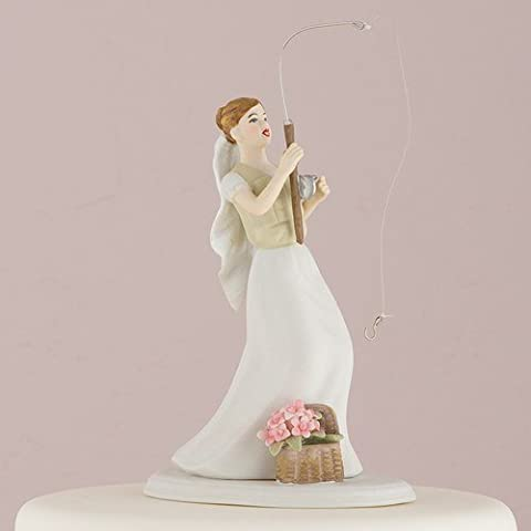 """Perfect Catch"" Bride with Fishing Rod Catching Her Groom Wedding Cake Topper"