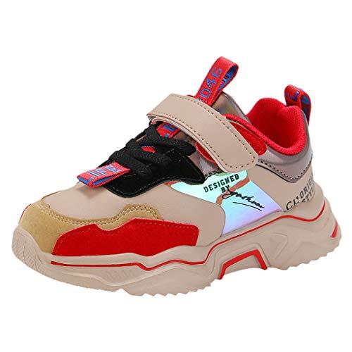 HDUFGJ Unisex-Kinder Sneakers Laufen Schuhe Sportschuhe Sneakers Jungen Mädchen Outdoorschuhe Wanderhalbschuhe Fliegendes Weben Luftkissen Flache Schuhe Faule Schuhe Stoßdämpfung 33 EU(Khaki)
