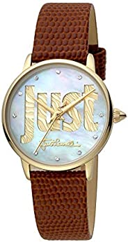 Just Cavalli Logo Pearl Dial Leather Analog Watch For Women