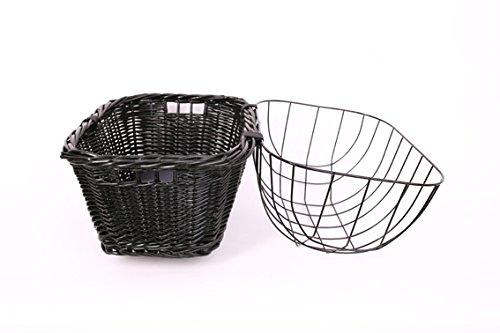 Tigana – Hundefahrradkorb für Gepäckträger aus Weide 44 x 34 cm mit Metallgitter und Kissen eckig Tierkorb in SCHWARZ - 3