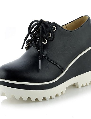 ZQ hug Scarpe Donna - Scarpe col tacco - Casual - Zeppe / Plateau / Punta arrotondata - Zeppa - Finta pelle - Nero / Rosso / Bianco , red-us10.5 / eu42 / uk8.5 / cn43 , red-us10.5 / eu42 / uk8.5 / cn4 black-us7.5 / eu38 / uk5.5 / cn38