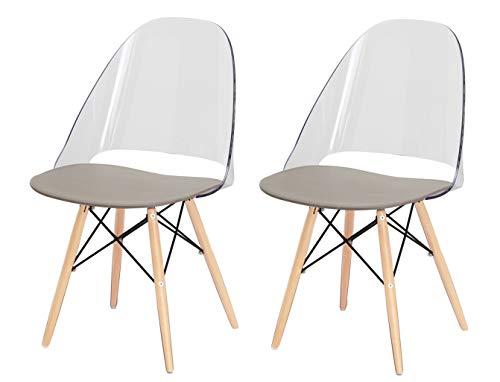 Meubletmoi Lot de 2 chaises avec Pieds en Bois de hêtre Ultra Robuste et Stable Design by Lodovico Bernardi - Collection Annie - Transparent