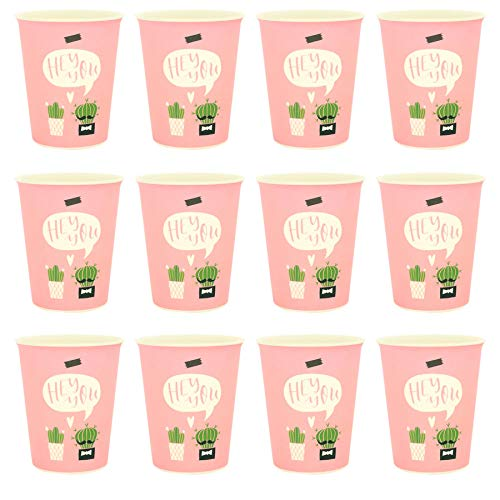 Rink Drink Bambus Wiederverwendbare Tumblers - 350ml - Pink Cactus - Packung mit 12 Eco Friendly Party-Cup