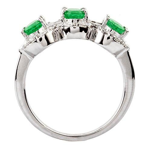 Anillo Sortija En Oro Blanco 18KT Con 3 Esmeraldas Naturales y 14 Diamantes Cerftificados Ambos. (Talla 7 - 27). Pide Tu Talla.