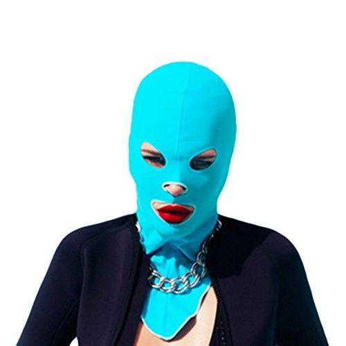 Meijunter 2X Schwimmen Kappe Haube voll Gesichtsmaske Sonnenschirm Staub UV Facekini Schutz Gesicht Color Light Blue