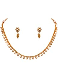JFL -Traditional Ethnic One Gram Gold Plated Diamond Designer Necklace Set For Women.
