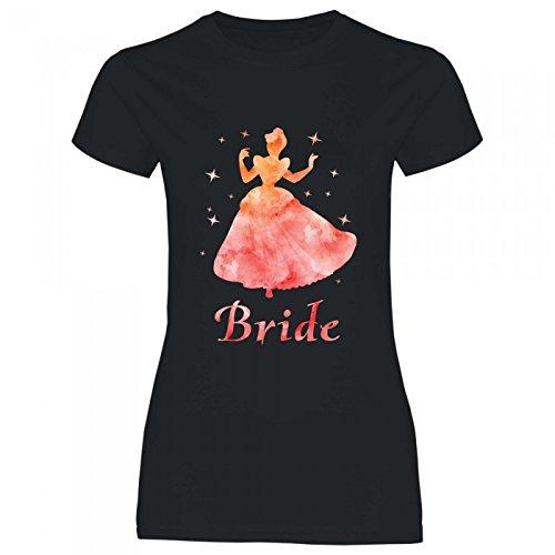 Royal Shirt rs133 Damen T-Shirt Orangene Prinzessin Bride   JGA Braut Team Hochzeit, Größe:XXL, Farbe:Black