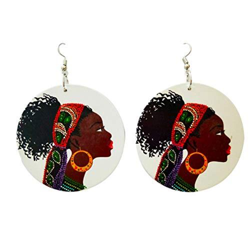 Kissherely Afrikanische Kopfverpackung Frauen Muster Holz Ohrringe Kreative Schmuck Frauen Zubehör