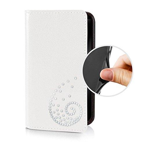 Für Apple iPhone --- 7-Plus --- eSPee Hülle Schutzhülle Wallet Flip Case Cremeweiss mit Swarovski® Kristallen Schnecke UNZERBRECHLICHER Silikon Schale / Bumper und Magnetverschluss Weiß