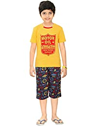 Boy's Sporty Night Wear T-Shirt And Capri Set By Red Ring