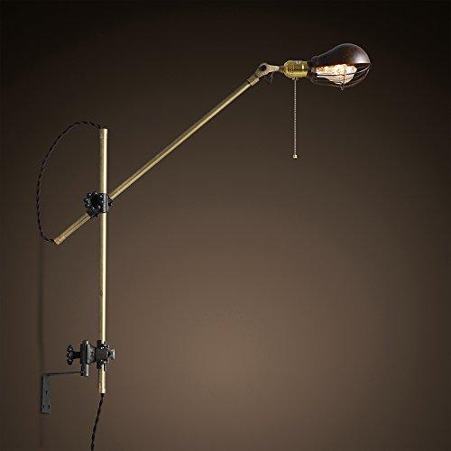 Retrò industriale parete vento OC. Antique vintage lampada da parete bianco American lampada in rame lungo il braccio