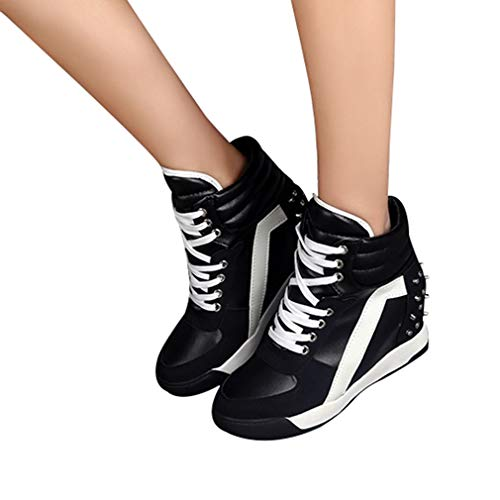 Hibote Damen Keilabsatz Sneakers Turnschuhe Sportschuhe Freizeit Schuhe mit Erhöht Einlegesohle Frauen Wedges Schnürschuhe Sneakers Schuhe Größe 35-39