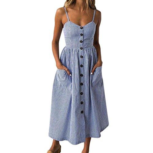 MRULIC Mode Frauen mit Knöpfen aus Schulter ärmelloses Kleid Prinzessin Kleid Vintage Clubwear(Blau,EU-38/CN-M) (Blau Gestreiften Shirt Kleid)