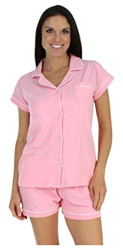 Klassischer Kurzarm-Pyjama für damen von Sleepyheads aus baumwolle zweiteiliger schlafanzug, Rosa (Hell-Pink), Gr. S (36-38)