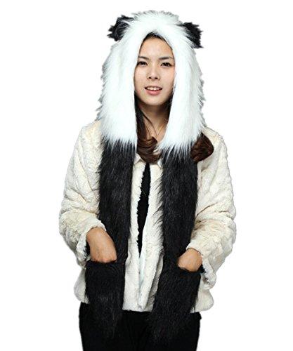 ene Teenager Kunstpelz flauschigen Tier Hut mit Pfoten Panda (Kawaii Panda Kostüm)