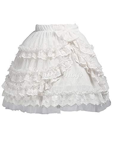 Antaina Weiß Chiffon Schnürung Floral Layered Rüschen Bogen Baumwolle Viktorianisch Knielang Elegant Lolita Kurzen Rock Faltenrock,XXL - Floral Layered