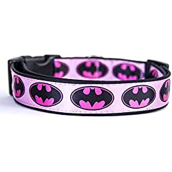 Batman Logo DC Comics Batgirl Pink Correa Perro Multiposicion Hecha a Mano HandMade Dog Leash