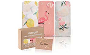 DOTMOM Newborn Baby Girl's and Boy's Super Soft Premium Organic Bamboo Swaddle Blankets Receiving Wrapper Cloth, Stroller Cover - Pack of 3(Multi Colored)