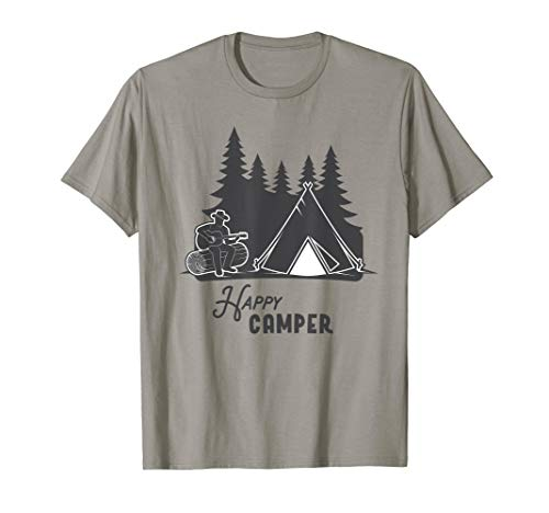 Happy Camper Camping Urlaub Gitarre Zelt Tshirt (Camping-gitarre)