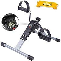 AGM Mini Bicicleta Estática, Pedaleador Plegable LCD Pantalla, Máquinas de piernas,Ejercitadores de Pedales para Entrenamiento de Brazos y Piernas Resistencia Ajustable