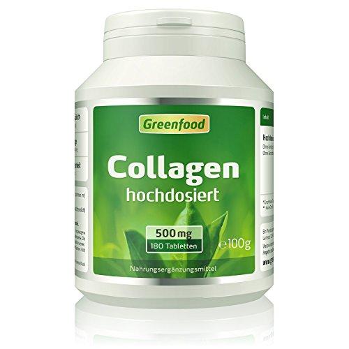 Collagen, 500 mg, hochdosiert, 180 Tabletten - natürliches Collagenhydrolysat. OHNE künstliche Zusätze, ohne Gentechnik.