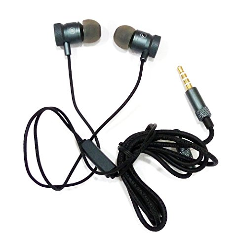AT Shopping OTD Metal Earphone/Handsfree Compatible For LG K5 - Metallic Grey