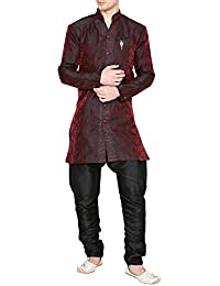 Royal Kurta Men's Jacquard Silk Indo-Western Sherwani