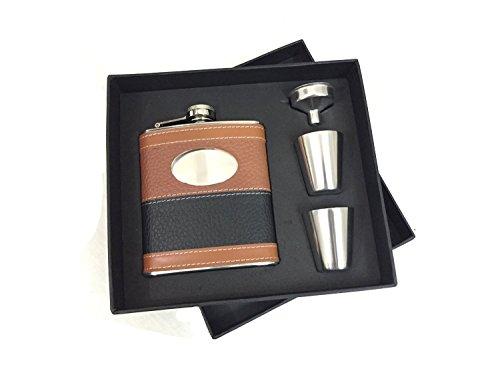 Flachmann-Geschenk-Set, Flasche mit schwarzem & braunem Leder umwickelt, Edelstahl 304, mit 2Schnapsgläsern & 1 Trichter