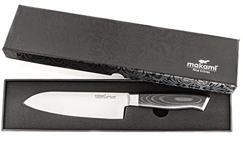 makami Premium Couteau Santoku en acier Damas japonais VG-10 en emballage cadeau