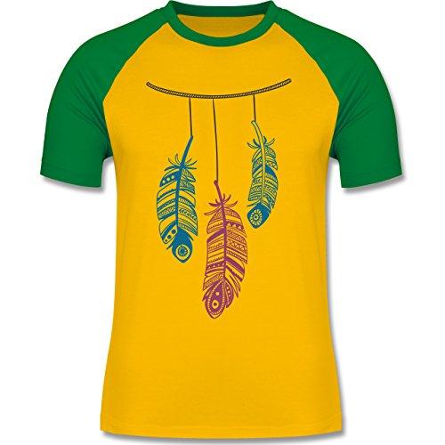 Statement Shirts - Hängende Federn - zweifarbiges Baseballshirt für Männer  Gelb/Grün