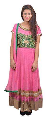 Manshi Women's Net Salwar Suit Set (Pink & Green, X-Large)