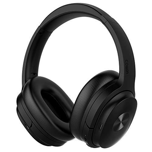 Cowin SE7 Active Noise Cancelling Bluetooth Kopfhörer Drahtlose Kopfhörer über Ohr mit Mikrofon/Aptx, Bequeme Protein-Ohrpolster 30H Playtime, Faltbare Kopfhörer für Reisen/Arbeiten - (Schwarz)