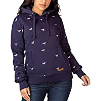 Ladies Emily Embroidered Over Head Hoodies Soft Long Sleeved Hoody Jumper Hooded Jacket with Warm Pocket (Navy, 14)