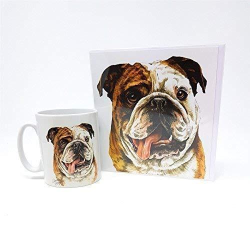 Ensemble 2 Pièces Bulldog Chien Chiot Fabriqué au Royaume-Uni Tasse en Céramique Mug Théière de Vœux Anniversaire Carte de Noël