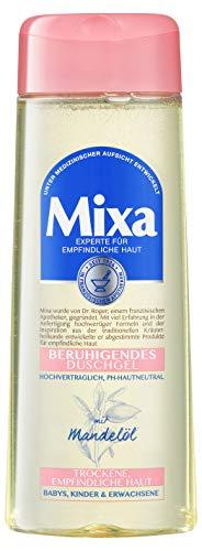 Mixa Beruhigendes Duschgel, mit Mandelöl, für trockene und empfindliche Haut, seifenfrei, ohne Parabene, pH-neutral, 3er Pack (3 x 250 ml)