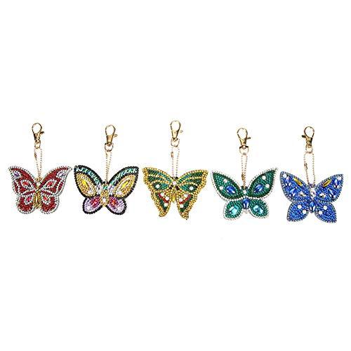 5pcs DIY Diamant Malerei Keychain - Full Drill Special Butterfly Shaped - für Damen Tasche