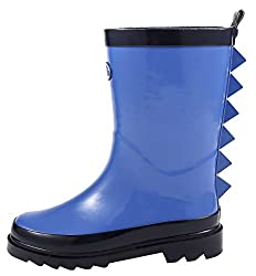 Outee Boys Kids Toddler Wellies Wellingtons Rain Boots Waterproof Rubber Boots Children Shark Fin Rear Puller Cute Design (Size 7,blue)