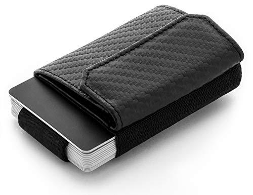 JAIMIE JACOBS Minimalist Wallet Nano Boy Pocket Mini Geldbörse aus Textil mit Zugband schmaler Kartenhalter für Herren und Damen (Carbon) -