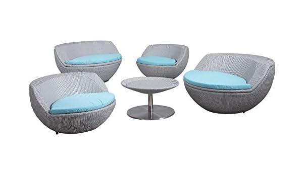 Salon de jardin boule empilable avec coussins bleu: Amazon.fr: Jardin